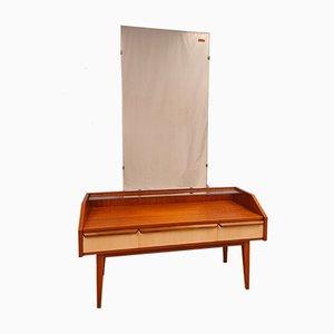 Vintage German Teak Dressing Table with Very Large Mirror, 1950s