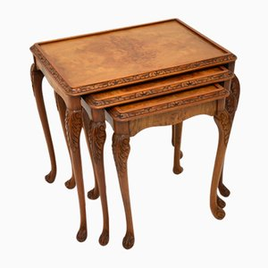 Antique Queen Anne Style Burr Walnut Nesting Tables, Set of 3