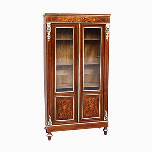 Antique Napoleon III Inlaid Display Cabinet in Crystal, 19th Century