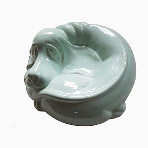 Mid-Century Ceramic Dog Bowl