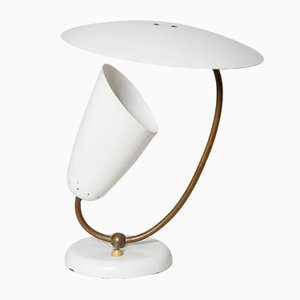 Brass and Enameled Metal Table Lamp, Switzerland, 1950s
