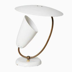 Tischlampe aus Messing und emailliertem Metall, Schweiz, 1950er