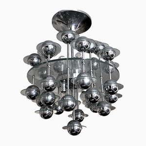 Vintage Italian Space Age Glass and Chrome Chandelier by Reggiani, 1970s