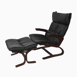 Vintage Kengu Lounge Chair and Footstool Set by Elsa & Nordahl Solheim for Rybo Rykken & Co