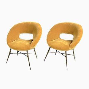 Gold Velvet Armchairs by Silvio Cavatorta, 1950s, Set of 2