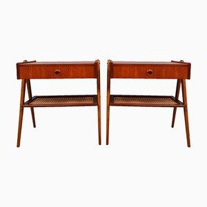 Mid-Century Danish Rattan and Teak Side Table or Nightstands, 1960s, Set of 2