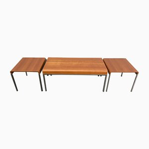 Coffee Tables in Beech & Brushed Steel, Italy, 1990s, Set of 3