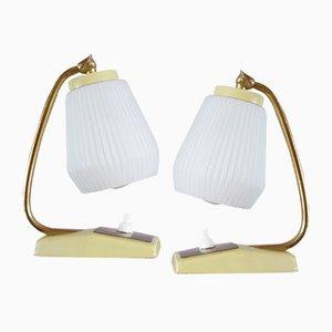 Gelbe Mid-Century Tischlampen, 2er Set