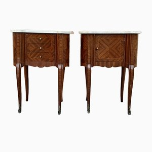 Antique French Kidney Bedside Tables with Marble Tops, Set of 2