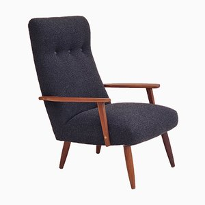 Danish Reupholstered High-Backed Armchair in Wool, 1960s