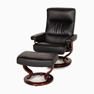 Black Leather Armchair and Stool from Stressless, Set of 2