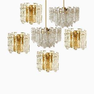 Ice Glass Wall Sconces with Brass Tone by J. T. Kalmar, Austria, Set of 6