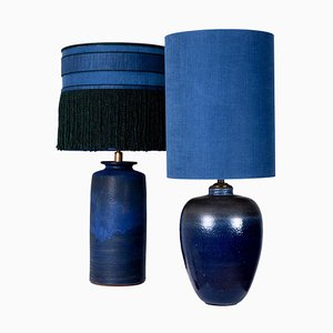 Large Ceramic Table Lamps with Custom Made Lampshades by René Houben, Set of 2