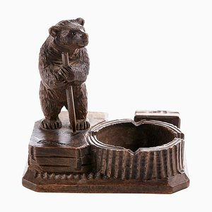 Antique Victorian Black Forest Carved Bear Match Stand