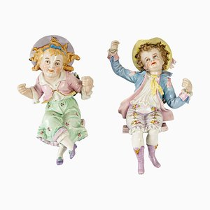 Two Children with a Swing in Paris Porcelain, Set of 2