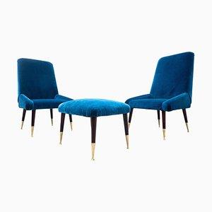 Italienisches Mid-Century Sitzset aus blauem Samt, 1950er, 3er Set