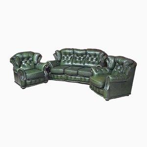 Olivgrünes Chesterfield Sofa Set, 3er Set