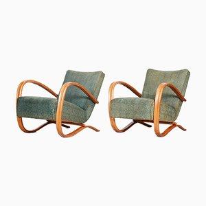 Art Deco H-269 Armlehnstühle aus Buche von Jindrich Halabala, Tschechoslowakei, 2er Set