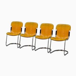 Chaises de Salle à Manger en Cuir Jaune et Chrome de Cidue, Italie, 1970s, Set de 4