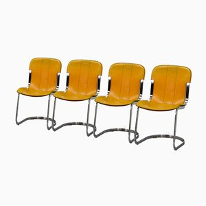 Dining Chairs in Yellow Leather & Chrome from Cidue, Italy, 1970s, Set of 4