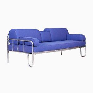 Bauhaus Restored Blue Leather and Chrome Sofa, Czechoslovakia, 1930s