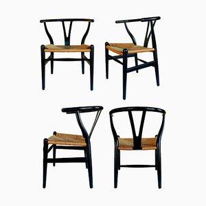 Sedie CH24 Wishbone Stuhl von Hans Wegner für Carl Hansen & Søn, 1950er, 4er Set