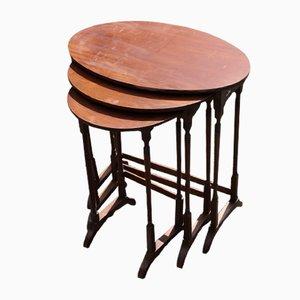 Oval Mahogany Nesting Tables, 1920s, Set of 3