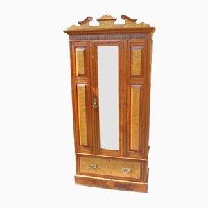 Mirrored 1-Door Burr Walnut Wardrobe, 1920s