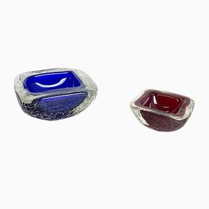 Crackled Murano Glass Ashtray or Bowl, Italy, 1970s, Set of 2