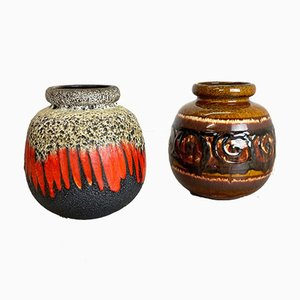 Mehrfarbige Fat Lava Keramikvasen von Scheurich, 1970er, 2er Set