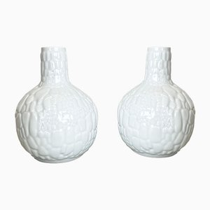 Op Art Biscuit Porcelain Vases by AK Kaiser, Germany, 1970s, Set of 2