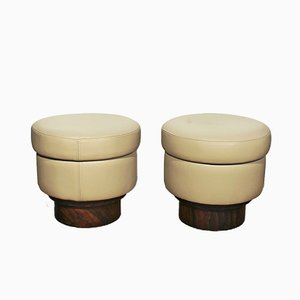 Italian Round Beige Leather Poufs, 1940s, Set of 2