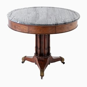Early 19th Century French Round Mahogany Table with Marble Top
