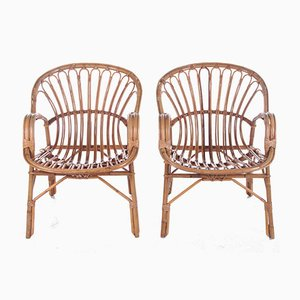 Vintage French Bamboo Armchairs, 1960s, Set of 2