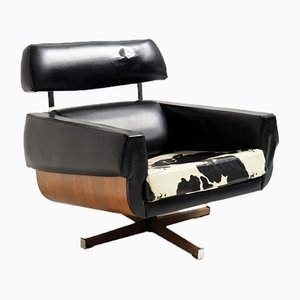 Mad Men Style Chair in Rosewood and Skai Leather