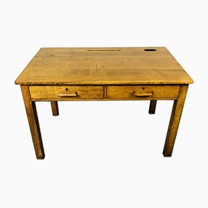 Vintage Headmaster's Oak Desk, 1950s