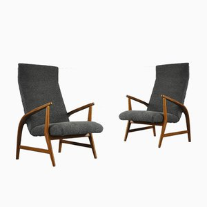 Armchair in Wood and Bouclè, 1950s, Set of 2