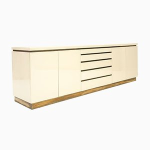 Lacquer and Brass Credenza by Jean Claude Mahey, 1970s