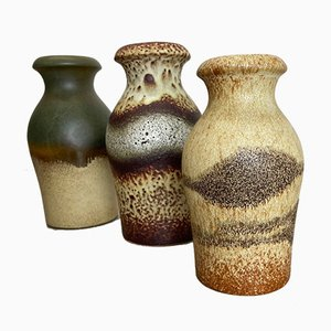 Vintage Fat Lava Ceramic Vases from Scheurich, Germany, 1970s, Set of 5