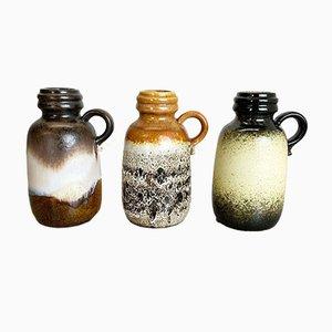 Vases Fat Lava 413-20 en Céramique de Scheurich, Allemagne, 1970s, Set de 3