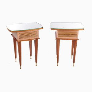Italian Solid Wood Bedside Tables by Gio Ponti, 1950s, Set of 2