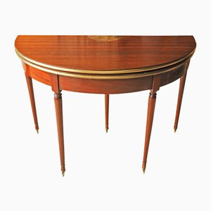 Antique French Empire Mahogany Demilune Card Table with Brass Trim on Tapering Castor Legs