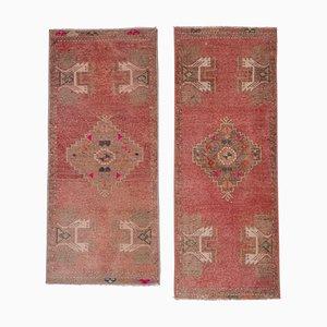 Narrow Handwoven Wool Oushak Mats, Set of 2