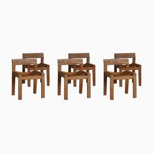 Dänische Mid-Century Esszimmerstühle aus massivem Pinienholz & Leder, 1970er, 6er Set