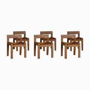 Mid-Century Danish Dining Chairs in Solid Pine and Leather, 1970s, Set of 6