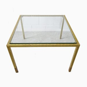 Coffee Table in Embossed Brass, 1970s