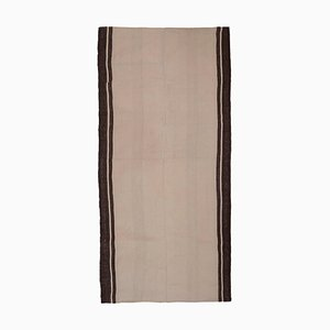 Vintage Turkish Flat-Weave Hemp Rug in Off-White with Stripes