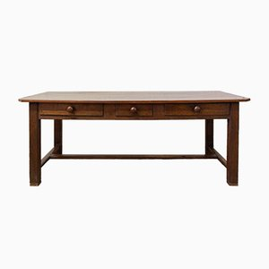 French Provincial Oak and Poplar Farm or Refectory Table, Late 19th-Century
