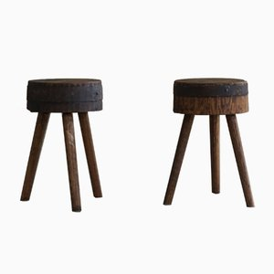 Swedish Primitive Stools in Solid Wood, Early 20th-Century, Set of 2