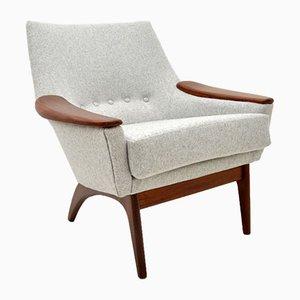Danish Afromosia & Wool Armchair, 1960s